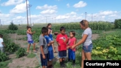 Young Crow Creek community gardeners teaching children about making healthy food choices. (Photo: Courtesy Crow Creek Fresh Food Initiative)