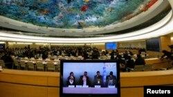 유엔 북한인권 조사위원회가 스위스 제네바에서 열리고 있는 유엔 인권이사회에서 북한의 인권 상황에 대한 보고서를 발표했다. 마이클 커비 조사위원장(화면 왼쪽 두번째)이 발표하고 있다.