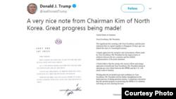 도널드 트럼프 미국 대통령이 12일 김정은 북한 국무위원장으로부터 받은 친서를 전격 공개했다. 트럼프 대통령 트위터 캡처.