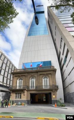 Hotel en el que se hospedaron los miembros de la Plataforma Unitaria Venezolana en Ciudad de México. Agosto 15, 2021. Foto: Jorge Mejía.