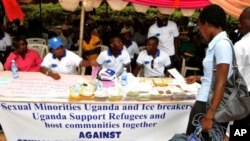 Members of Sexual Minorities Uganda, at the opening of fourth annual sexual and gender-based violence/persecution awareness campaign week in Kampala, Uganda, March 19, 2012.