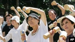 A brain workout is just as important as a body workout. (Seniors in Japan staying healthy.)