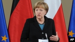 German Chancellor Angela Merkel speaks at the beginning of talks between the Polish and German governments in Warsaw, Poland, April 27, 2015.