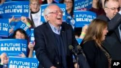 Mmoja wa wagombea urais kwa chama cha Demokrat Bernie Sanders akihutubia wafuasi wake katika Jimbo la Vermont.