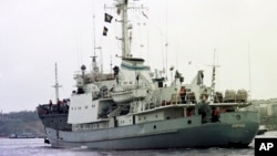 "FILE - The Russian Navy reconnaissance ship ""Liman"" is seen off the coast of Crimea, Ukraine, in an April 2, 1999, photo."