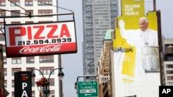 Imagens do Papa Francisco enchem as ruas de Nova Iorque