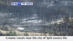 VOA60 World- Croatia: Locals near the city of Split assess the damage left after a wildfire