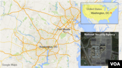 Map showing he location of the NSA in Fort Meade, MD
