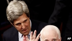 Sen. John McCain, R-Ariz., right, and Sen. John Kerry, D-Mass. are seen on Capitol Hill in Washington, Tuesday, Jan. 25, 2011, prior to the start of President Barack Obama's State of the Union address.