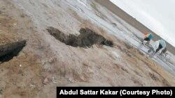قلعہ عبدالله کلی لمڑان میں بارشوں کے بعد پڑنے والی دراڑ جو تقریباً آدھا کلومیٹر لمبی ہے