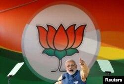 나렌드라 모디 인도 총리가 지난달 4일 벵갈루루에서 열린 주의원 선거 유세에 참석했다.