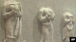 Ancient stone carvings on display at the Kabul Museum in Afghanistan
