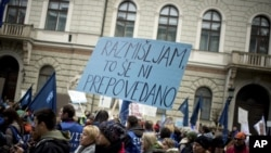 Public workers take part in a protest in downtown Ljubljana, Wednesday, Jan. 23, 2013.