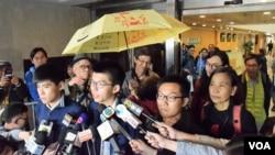香港佔領旺角刑事藐視法庭案押後判刑。(美國之音湯惠芸)