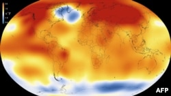 This illustration obtained from NASA on January 20, 2016, shows that 2015 was the warmest year since modern record-keeping began in 1880, according to an analysis by NASA's Goddard Institute for Space Studies.
