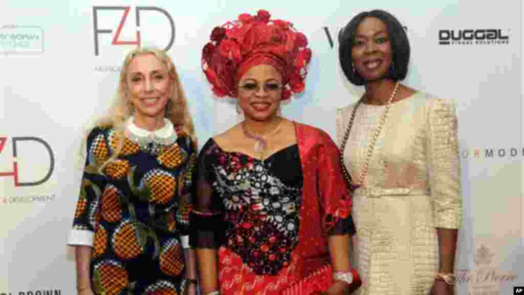 Folorunshu Alakija, center, Founder of Rose of Sharon Foundation at the Fashion 4 Development First Ladies Luncheon and Fashion Show in New York.