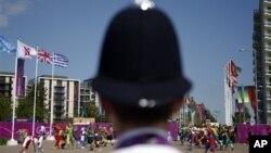 22일 올림픽 선수촌에서 열린 올림픽팀 환영식에 배치된 경찰 병력.
