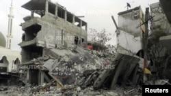 지난 16일 발생한 시리아 다마스쿠스의 폭탄 테러 현장. (자료사진)