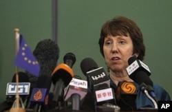 Catherine Ashton, durant une visite en Libye (22 mai 2011)
