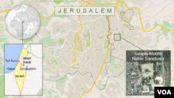 Bản đồ Đền Mount / Đền Noble tại Thành phố cổ Jerusalem.