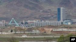 한국 최북단에 위치한 대성동 자유의 마을에서 바라본 북한 개성공단 일대