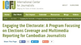 A screenshot of the US-based International Center for Journalists (ICFJ) website.