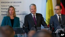 European Union foreign policy chief Federica Mogherini (L), speaks during a media conference with EU members of the UN Security Council Belgian Foreign Minister Didier Reynders (C), and German Foreign Minister Heiko Maas (R) at the Egmont Palace in Brussels, Jan. 28. 2019.