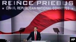 레인스 프리버스 미 공화당 전국위원회 위원장이 18일 클리블랜드에서 2016 공화당 전당대회의 개막을 알리고 있다.