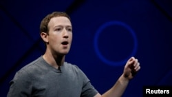 د فیسبوک رئیس مارک ذوکربرگ د کلیفورنیا په سان هوزې کې د فیسبوک په کلني کنفرانس کې وینا کوي. د اپریل ١٨ مه ٢٠١٧ کال