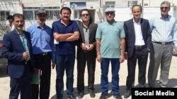 از راست: حمیدرضا رجایی، حسین رمضانپور، مصطفی رباطی، حسن جوهری، سعید حقپرست، علیفروتن و محمدرضا رمضانزاده