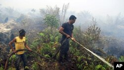 Firefighters work to extinguish forest fires in Bengkalish district of Riau province, Indonesia (file photo – 22 Oct 2010)