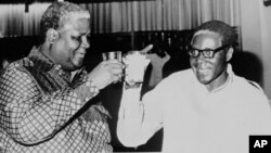The late Vice President Joshua Nkomo and President Robert Mugabe.