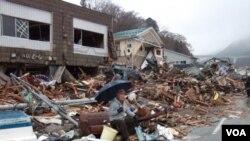 Nombreux bâtiments détruits lors du séisme de mars 2011 au Japon