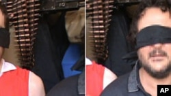两名身份不明人质的照片8月3日被送往法新社
