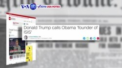 "VOA60 Elections - CNN: Trump repeatedly calls President Obama the ""founder of ISIS"""