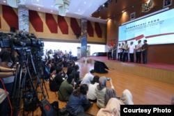 Konferensi pers soal Covid-19 di Gedung BNPB, Jakarta, Sabtu, 14 Maret 2020. (Foto: BNPB)