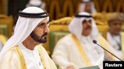 FILE - Prime Minister and Vice President of the United Arab Emirates and ruler of Dubai Sheikh Mohammed bin Rashid al-Maktoum attends the Gulf Cooperation Council's (GCC) Summit in Riyadh, Saudi Arabia, Dec. 9, 2018.