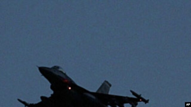 An F-16 jet fighter taking off from the NATO airbase in Aviano, Italy this week