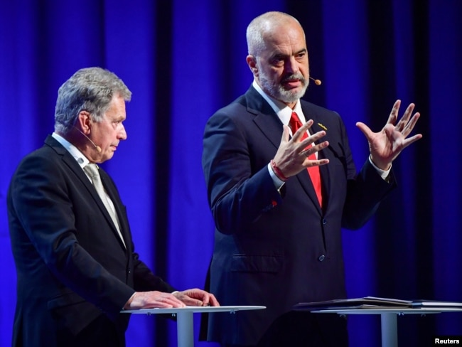 Finnish President Sauli Niinisto and Albanian Prime Minister Edi Rama speak during the Malmo International Forum on Holocaust Remembrance and Combating Antisemitism in Malmo, Sweden, October 13, 2021.