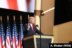 Donald Trump speaks to the delegates at the Republican National Convention, in Cleveland, July 21, 2016.