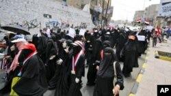 Perempuan Yaman giat berdemonstrasi dalam penggulingan mantan presiden Ali Abdullah Saleh tahun lalu. (Foto: Dok)