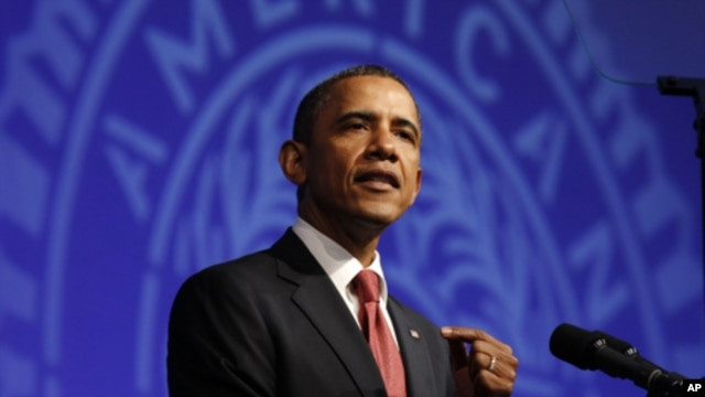 U.S. President Barack Obama addresses the 93rd annual American Legion National Convention in Minneapolis, August 30, 2011