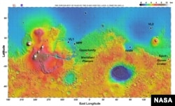 This NASA map shows the locations of landings on Mars.