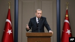 土耳其总统埃尔多安在前往中国之前在安卡拉发表声明,之后他将访问华盛顿(2017年5月12日)