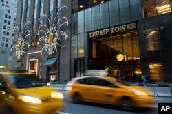Traffic passes Trump Tower in New York, Nov. 21, 2016.