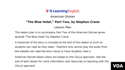 Lesson Plan - The Blue Hotel, Part Two