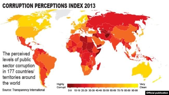 Chỉ số tham nhũng của tổ chức Minh bạch Quốc tế công bố năm 2013. VIệt Nam hiện đang đứng thứ 113/176 theo đánh giá của tổ chức này.