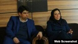 احسان مازندرانی در کنار همسرش ملیحه حسینی