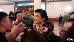 2017年3月3日下午政协大会结束后,中国全国政协委员、媒体人崔永元接受媒体采访。(艾伦拍摄)