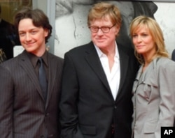 James McAvoy, Robert Redford and Robin Wright at the premiere of 'The Conspirator' at Ford's Theater in Washington, DC on April 10, 2011.